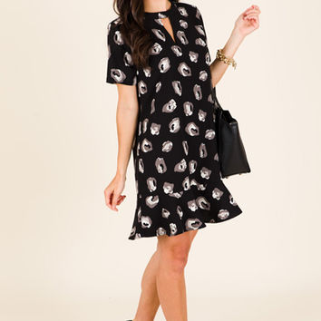 Lana Flounce Dress, Black