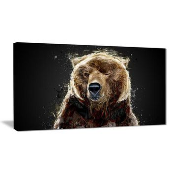 Black Bear Wink Canvas Wall Art Print