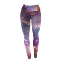 "Suzanne Carter ""Cosmic Cloud"" Celestial Purple Yoga Leggings"