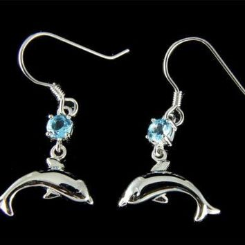 GENUINE BLUE TOPAZ SILVER 925 HAWAIIAN DOLPHIN WIRE HOOK EARRINGS