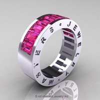 Womens Modern 14K White Gold Pink Sapphire Channel Cluster Wedding Band R174RF-14WGPS