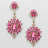 Chandelier Crystal Drop Earrings Pink