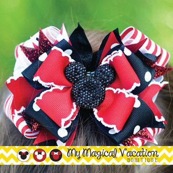 Minnie Mouse Boutique Bow, Disney Bow, OTT Bow, Disneyland Vacation Bow, Boutique Hair Bow, Disney Headband, Minnie Mouse Bow, Mickey Mouse