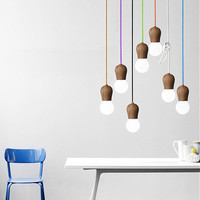 Wooden socket pendant light / minimalist / fun / novelty / rainbow / colourful