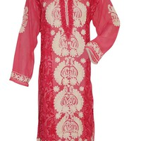Women Caftan Dress Bohemian Red Beige Embroidered Hippie Tunic XXL: Amazon.ca: Clothing & Accessories
