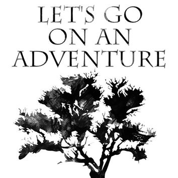 Let's go on ad adventure - Digital print Adventure printable Watercolor print Tree printable Watercolor art Typographic print Typography