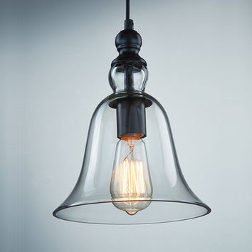 CLAXY Ecopower 1 Light Vintage Hanging Big Bell Glass Shade Ceiling Lamp Pend...