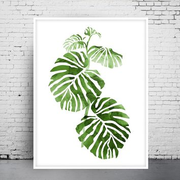 Monstera Print, Tropical Art, Botanical Print, Tropical Wall Decor, Botanical Gift, Scandi Decor, Minimalist Decor, Green Wall Art - 367