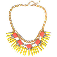 Yellow Tribal Spikes Necklace