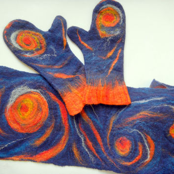 wool felted scarf and mittens Starry sky, dark blue colored with bright red and yellow stars. Handmade set .