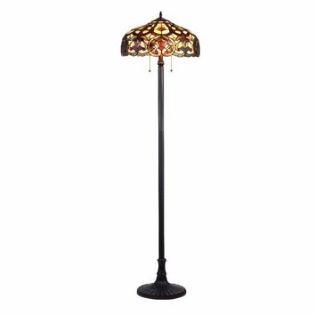 "SADIE Tiffany-style 2 Light Victorian Floor Lamp 18"" Shade"