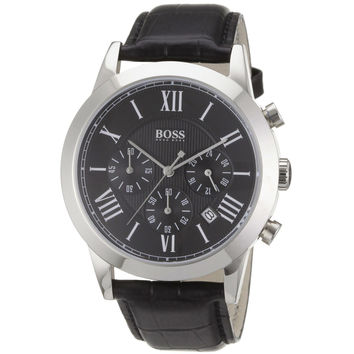 Hugo Boss 1512574 Men's Black Dial Black Leather Strap Chronograph Watch