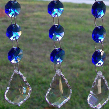 m/w Swarovski Crystal Blue Purple Rear View Mirror Suncatcher Car Mirror Charm Car Ornament