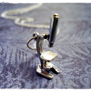 Silver Microscope Necklace - Sterling Silver Microscope Charm on a Delicate 18 Inch Sterling Silver Cable Chain