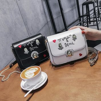 Women Fashion Flower Letter Embroidery Small Square Bag Metal Chain Single Shoulder Messenger Bag
