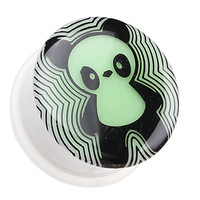 Glow in the Dark Panda Single Flared Ear Gauge Plug