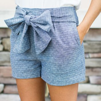 Chambray Tie Shorts