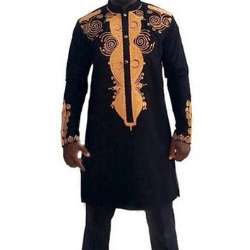 Traditional Men Robe Dashiki Long Sleeve African Clothing Tribal Print