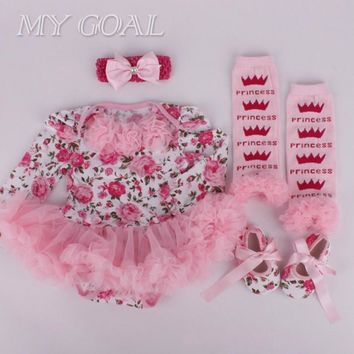 Baby girl clothes Newborn baby Romper Tutu dress+headband+shoes+leggings 4pcs/set Baby