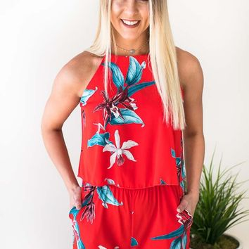 Follow Where She Goes Pocket Romper - Tropical