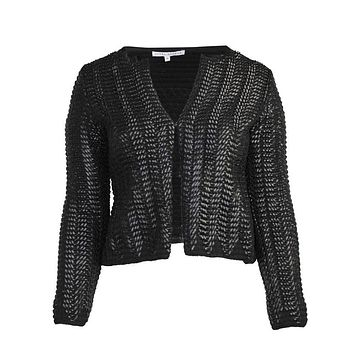 Woven Faux Leather Jacket