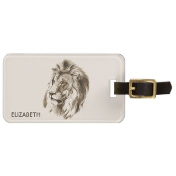 Vintage Lion With Orange Eyes Transparent Drawing Luggage Tag