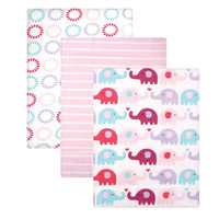 Luvable Friends 3 Pack Flannel Receiving Blankets - Pink Elephant