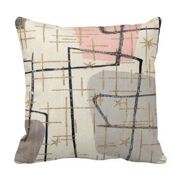 Mid Century Modern Abstract Fabric Throw Pillow