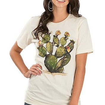 XOXO Art & Co. Women's Soft Cream Green Cactus Graphic T-Shirt