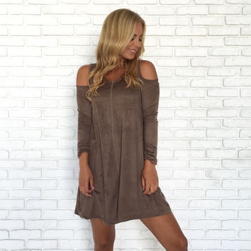 Element Cold Shoulder Suede Dress In Taupe