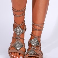 Suede Lace-Up Gladiator Sandals Taupe