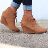 The Sally Wedge Bootie {Camel}