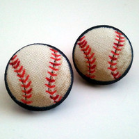 Navy blue white and red baseball/ softball button earrings