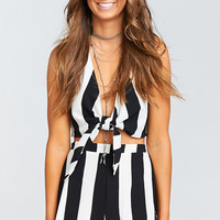 Holden Tie Top ~ Bastille Stripe Crinkle Stretch