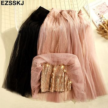 NEW 2019 spring Summer Glitter Tulle Skirt Women sequined Long Pleated tutu Skirt party A-line mesh shiny midi Skirt female