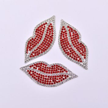 5 pcs Red Lips Hot Fix Rhinestones Patches Applique Iron On Transfer Strass Motifs Hotfix Crystal Stones For Clothing Crafts