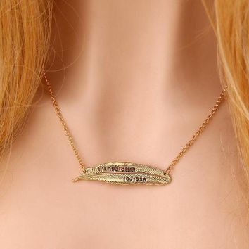 ca ICIKTM4 Gift New Arrival Stylish Jewelry Shiny Leaf Harry Potter Alloy Feather Necklace [11203383559]
