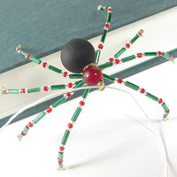 Red, Black and Green Beaded Christmas Spider - Christmas Spider Ornament