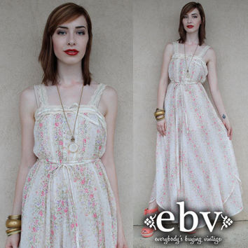 Vintage 70s Floral Hippie Boho Ethereal Maxi Dress S M