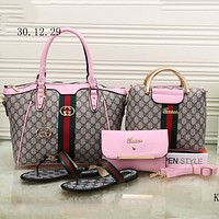 GUCCI 2018 trendy women high quality exquisite four-piece fashion F-KSPJ-BBDL pink