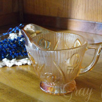 Iridescent Marigold Iris and Herringbone Footed Creamer by Jeanette Glass Co.