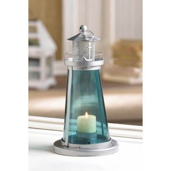 Blue Glass Lighthouse Candle Lantern Nautical Decor