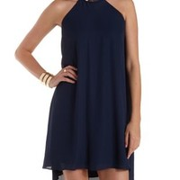 Navy Gold-Banded Halter Shift Dress by Charlotte Russe