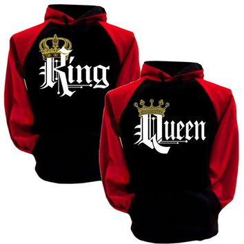 King And Queen Hoodies Pullovers Valentine New Multi Colors Matching Cute Love Couples Crown Print