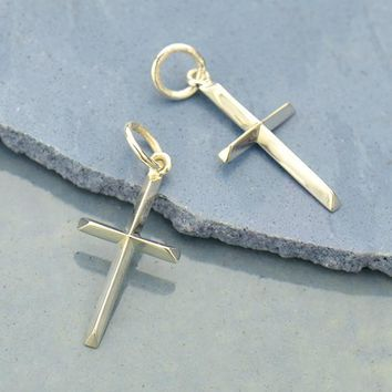 Sterling Silver Cross Charm with Raised Ridges