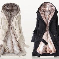 Faux fur lining womens winter warm long fur coat jacket