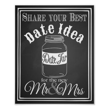Wedding sign date jar guest book sign chalkboard poster