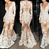 SEXY PLUNGING NECK LONG SLEEVE SEE-THROUGH WOMEN'S DRESS