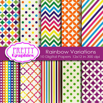 DIGITAL PAPERS - Rainbow Variations - Commercial Use - 12x12 JPG Files -Printable Papers- Scrapbook Papers - High Quality 300 dpi