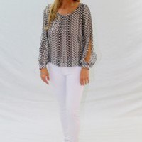 Chevron Blouse - Always a Runway Clothing
